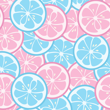 Seamless pattern with pink and blue citrus. Lime and grapefruit. Tasty summer background. Yummy tropical fruits endless texture. Can be used for wallpaper, banner, poster. Vector illustration