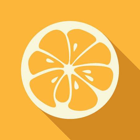 yummy: Flat orange logo with long shadow. Logotype for citrus company. Refreshing yummy tropical summer fruit. Cocktail ingredient. Vector design illustration