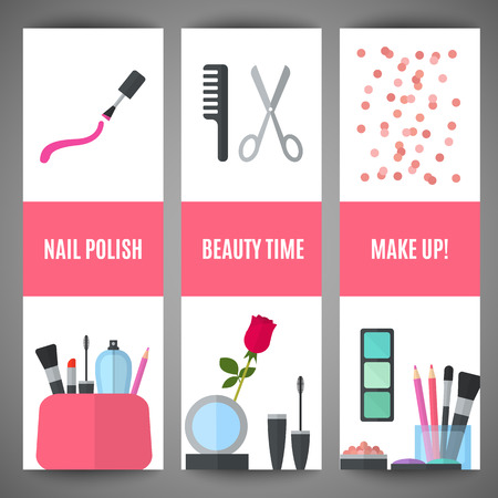 beauty make up: Set of beauty make up banner design. Cosmetic accessories for make-up. Cosmetology and SPA. Vector illustration for promotional booklets, brochures, banner, leaflets. Flat style