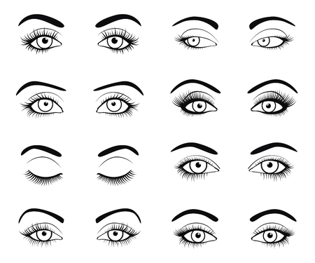 close: Set of female eyes and brows image with beautifully fashion eyelashes. Vector illustration for health glamour design. Black and white colors. Close and open woman eyes.