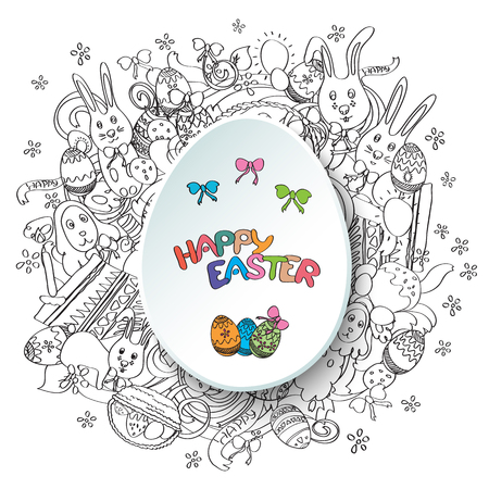 middle easter: Happy easter black and white greeting card in vector. Text is written on the egg in the middle of illustration.  Funny rabbits, cakes, spring flowers and baskets. Holiday background in cartoon style