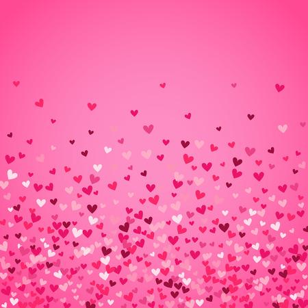 Sfondo romantico cuore rosa. Illustrazione vettoriale per progettazione vacanza. Molti cuori volanti su sfondo rosa. Per la partecipazione di nozze, San Valentino saluti, bella cornice.