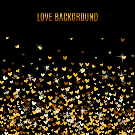 heart background: Romantic golden heart frame on black background. Vector illustration for holiday design. Many flying gold confetti hearts. For wedding card, valentine day greetings, lovely frame.