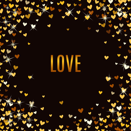 glitter hearts: Romantic golden heart frame on black background. Vector illustration for holiday design. Many flying gold confetti hearts. For wedding card, valentine day greetings, lovely frame.