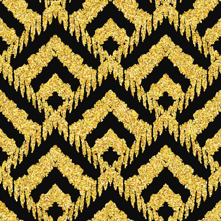 yellow line: Hand drawn golden seamless pattern. Vector illustration for gold design. Ethnic motif. Zigzag and stripe line. Yellow and black colors. For invitation, web, textile, wallpaper, wrapping paper.
