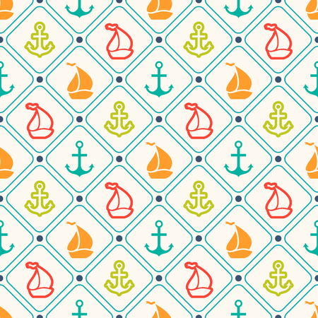 navy blue: Seamless vector pattern of anchor, sailboat shape and line. Endless texture for printing onto fabric, web page background and paper or invitation. Abstract retro nautical style. Retro colors