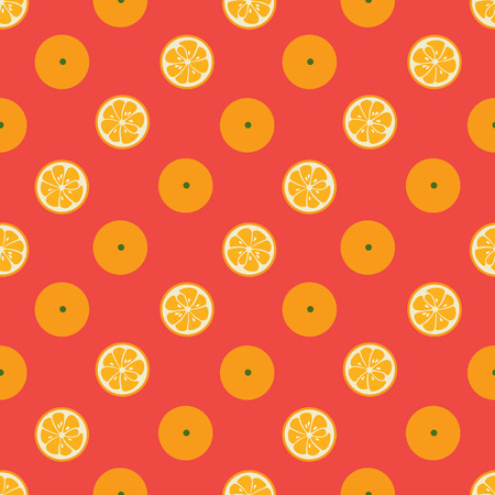 yummy: Cute seamless pattern with diagonal orange slices on red background. Tasty summer background. Yummy tropical fruits endless texture. For wallpaper, banner. Delicious healthy fruit. illustration