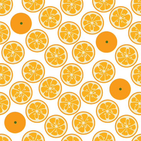 slice: Cute seamless pattern with orange slices. Tasty summer background. Yummy tropical fruits endless texture. Can be used for wallpapers, banners, posters. Delicious healthy fruits. Vector illustration