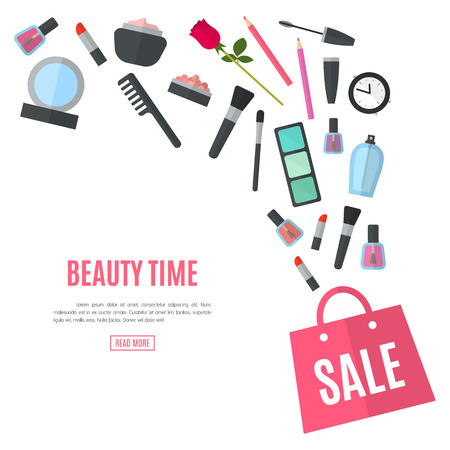 artists: Make up concept vector flat illustration with lipstick, comb, brush, palette, perfume, nail Polish in women purse. Beauty design isolated on white background. Make-up artist objects. Cosmetic bag. Illustration