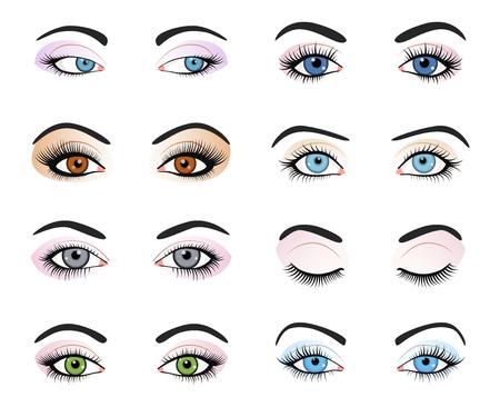 Conjunto de ojos femeninos y la imagen de las cejas con la moda bellamente componen. Ilustración vectorial para diseño encanto salud. Azul, verde y marrón. Cerrar y abrir ojos de mujer.