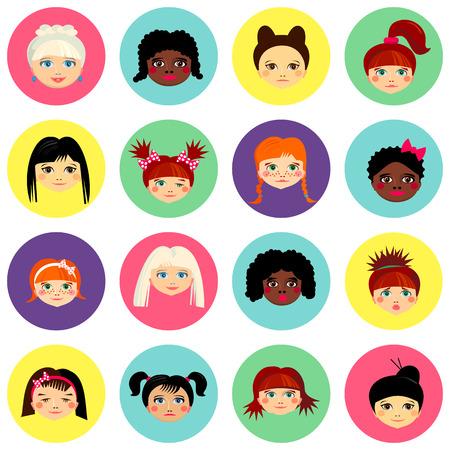 kid portrait: Multinational female face avatar profile heads with multi colored hair. Girls with different hairstyles. Flat design icons isolated on white background. Women close up portraits. Vector illustration Illustration