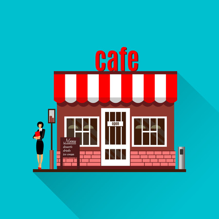 Restaurant or cafe illustration in flat style. Isometric  dinner building  with waitress and menu board standing nearby. Desserts, drinks, ice-cream. Bistro service. Vector cafe icon with shadow. Ilustração