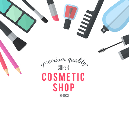 cosmetics background: Beauty design. Cosmetic accessories for make-up. Professional products of high quality. Cosmetology and SPA. Vector illustration for promotional booklets, brochures, banner, leaflets. Flat design Illustration