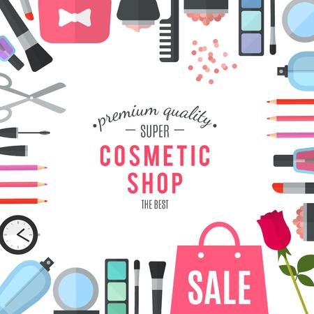productos de belleza: cosméticos de calidad profesional tienda. Mujer de las compras en línea móvil. Accesorios y cosméticos. Las compras en cajas envueltas hermosas. tienda de cosméticos orgánicos. Productos naturales. ilustración vectorial plana