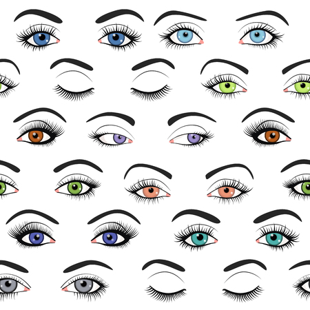 close: Set of female eyes and brows seamless pattern. Vector illustration for health glamour design. Blue, green and brown colors. Close and open woman eyes.