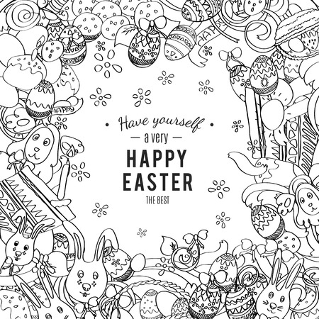 Happy Easter card in vector. Frame made of funny rabbits, eggs, easter cakes and spring flowers. Stylish holiday background in sketch doodle style. Greeting card