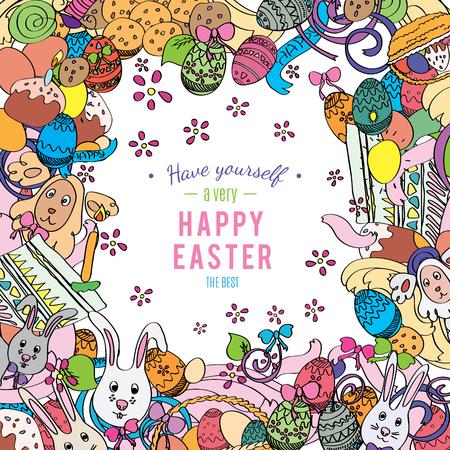 Tarjeta de Pascua feliz en el vector. Capítulo hecho de conejos divertidos, huevos de pascua, pasteles y flores de primavera. Fondo de vacaciones con estilo en el estilo de dibujo boceto. Tarjeta de felicitación
