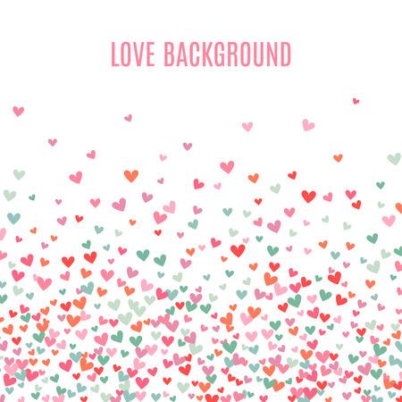 ロマンチックなピンクとブルーのハートの背景。休日のデザインのベクトル図です。多く飛んで心を白い背景の上。ウェディング カード、バレンタ