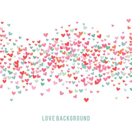bebes niñas: el fondo del corazón, azul, rosa y romántica. Ilustración del vector para el diseño de fiesta. Muchos corazones del vuelo en el fondo blanco. Por invitación de boda, saludos del día de San Valentín, marco precioso.