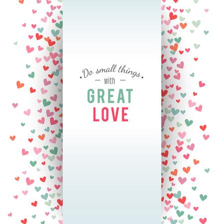 fondo para tarjetas: el fondo del corazón, azul, rosa y romántica. Ilustración del vector para el diseño de fiesta. Muchos corazones del vuelo en el fondo blanco. Por invitación de boda, saludos del día de San Valentín, marco precioso.