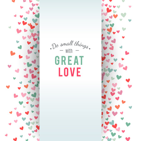 background card: Romantic pink and blue heart background. Vector illustration for holiday design. Many flying hearts on white background. For wedding card, valentine day greetings, lovely frame.