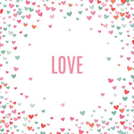 Romantische roze en blauw hart achtergrond. Vector illustratie voor vakantie design. Vele vliegende harten rond op een witte achtergrond. Voor bruiloft kaart, valentijnsdag groeten, mooi kader. Stock Illustratie