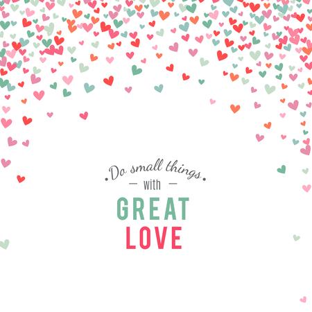 el fondo del corazón, azul, rosa y romántica. Ilustración del vector para el diseño de fiesta. Muchos corazones del vuelo en el fondo blanco. Por invitación de boda, saludos del día de San Valentín, marco precioso.