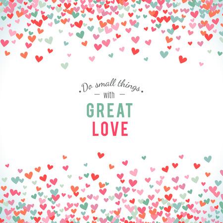 El fondo del corazón, azul, rosa y romántica. Ilustración del vector para el diseño de fiesta. Muchos corazones del vuelo en el fondo blanco. Por invitación de boda, saludos del día de San Valentín, marco precioso. Foto de archivo - 51850075