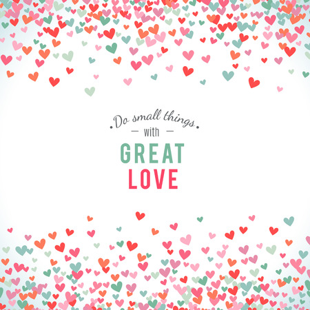 baby background: Romantic pink and blue heart background. Vector illustration for holiday design. Many flying hearts on white background. For wedding card, valentine day greetings, lovely frame.