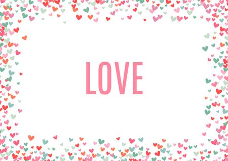 rose romantique et bleu fond de coeur. Vector illustration pour la conception de vacances. Beaucoup de coeurs de vol sur fond blanc. Pour la carte de mariage, salutations du jour de valentine, beau cadre.