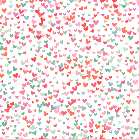 Romantic pink and blue heart seamless pattern. Vector illustration for holiday design. Many flying hearts down on white background. For wedding card, valentine day greetings, lovely frame. Vectores
