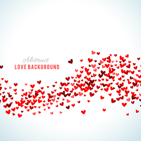 Romantic red background. Vector illustration for holiday design. Many flying hearts on white background. For wedding card, valentine day greetings, lovely frame. Illusztráció