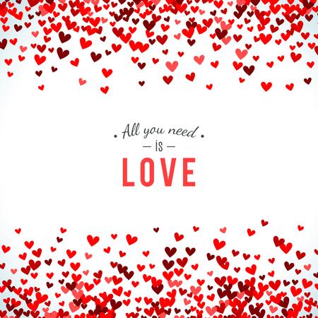 Romantic red background. Vector illustration for holiday design. Many flying hearts on white background. For wedding card, valentine day greetings, lovely frame. Ilustração