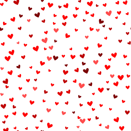 Modelo inconsútil del corazón rojo romántico. Ilustración del vector para el diseño de fiesta. Muchos corazones volando hacia abajo sobre fondo blanco. Por invitación de boda, saludos del día de San Valentín, marco precioso.