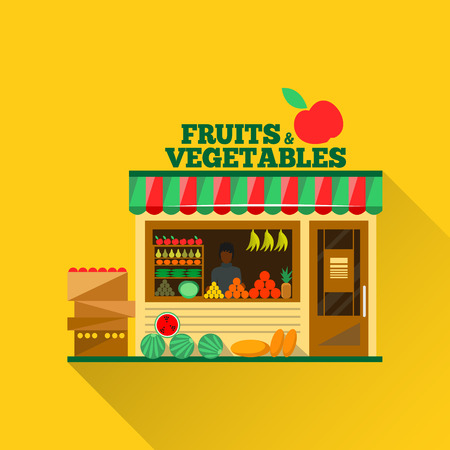 citrus fruit: Fruits and vegetables shop. Man silhouette in a shop window. Green grocery stall. Food shop vector illustration. Banana, apple, orange, lime, pumpkin. Promotion of healthy eating concept.