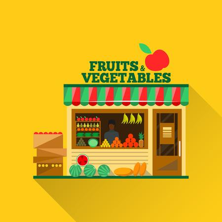 Obst und Gemüse einkaufen. Man Silhouette in einem Schaufenster. Grüne Lebensmittelverkauf. Lebensmittelgeschäft Vektor-Illustration. Banane, Apfel, Orange, Limette, Kürbis. Förderung gesunder Ernährung Konzept.
