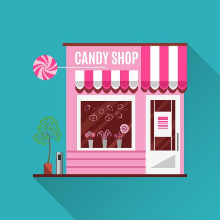 shop: Candy shop in a pink color. Flat design vector illustration of small business concept.Tasty candies in a shop window. Lollipops boutique. Stylish sweets shop. Confectionery shop. Cute desserts. Illustration