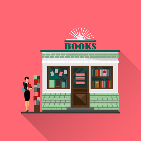 book shop: Vector bookstore mall. Books shop building. Woman silhouette with a book. A lot of books in a shop window. Library. Education market. Cute architecture facade. Vector flat style illustration. Boutique
