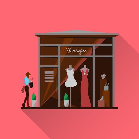 Kledingwinkel. Man en vrouw kleding winkel en een boetiek. Winkelen, mode, tassen, accessoires. Vlakke stijl vector illustratie. Moderne stijlvolle boutique. Silhouet van de vrouw in de etalage. Vector