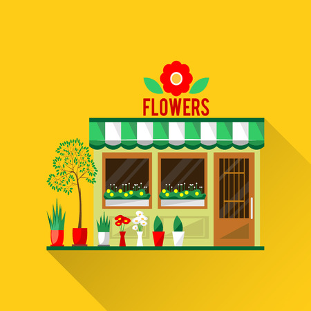 show plant: Illustration of a flowers shop. Little cute retro house and store, shop or boutique with green awning. Floral boutique. Consumer flowerpot. Vector flat style icon. Florist shop. Cute plants
