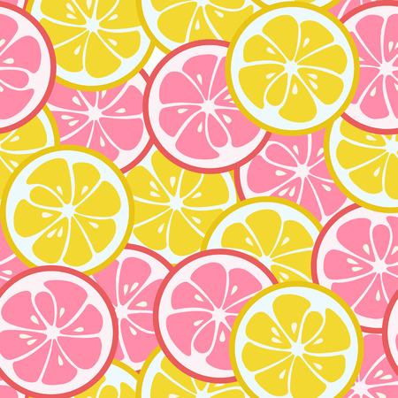 与桃红色和黄色柑橘的无缝的样式。石灰和葡萄柚。美味的夏天背景。美味的热带水果无尽的纹理。可用于壁纸,横幅,海报。矢量图