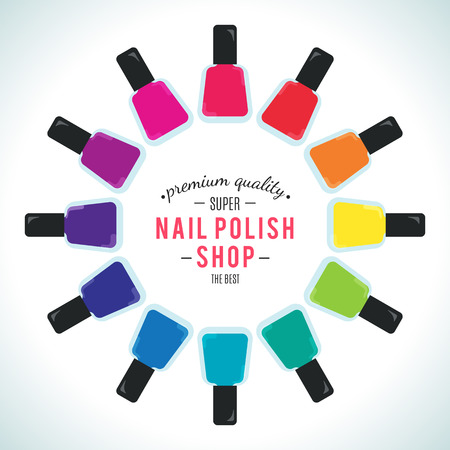pedicure set: Nail polish women accessories set in a palette. Bright stylish modern colors. Glamour cosmetics. Manicure and pedicure products. Cool bottles in rainbow colors. Vector design illustration.