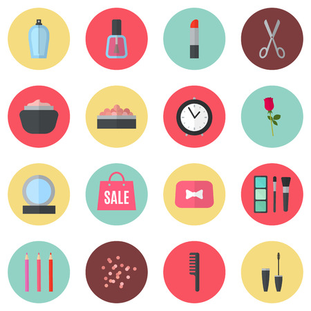 beauty make up: Make up flat icons. Vector illustration for cosmetic design. Beauty style isolated on retro chic background. Make-up artist objects. Makeup accessories for pretty woman. Retro colors.