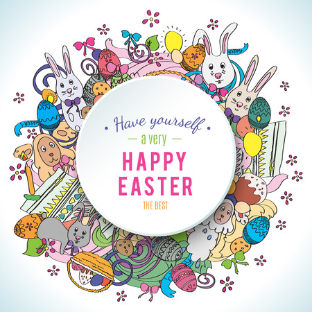 middle easter: Happy easter colorful greeting card in vector. Text is written on the circle in the middle of illustration.  Funny rabbits, cakes, spring flower and basket. Stylish holiday background in cartoon style