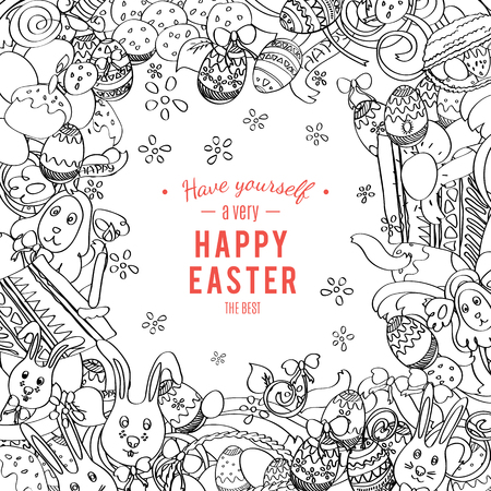 food basket: Happy Easter card in vector. Frame made of funny rabbits, eggs, easter cakes and spring flowers. Stylish holiday background in sketch doodle style.  Greeting card Illustration