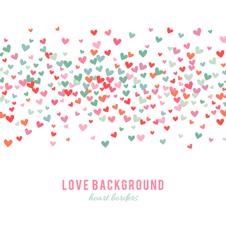 holiday background: Romantic pink and blue heart background. Vector illustration for holiday design. Many flying hearts on white background. For wedding card, valentine day greetings, lovely frame.