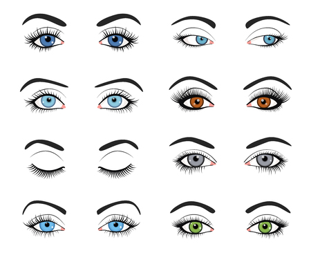 Set of female eyes and brows image with beautifully fashion make up. Vector illustration for health glamour design. Blue, green and brown colors. Close and open woman eyes. Ilustração