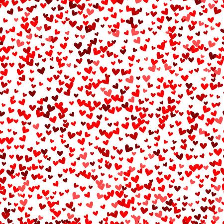 ロマンチックな赤いハートのシームレスなパターン。休日のデザインのベクトル図です。多く飛んで心を白い背景の上。ウェディング カード、バレ