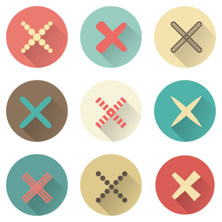 in: Set of different retro crosses and tics. Confirmation, right and wrong choices, task completion, voting, Vector isolated on white background. Red, brown and green colors. Elements in flat design.
