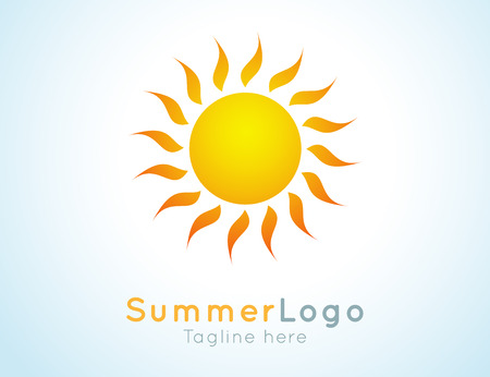 sun: Vector summer label. Summer logo icon. Sunny design element. Background design for banner, poster, flyer, cover, brochure. Sunrise and sunset. Bright nature graphic.